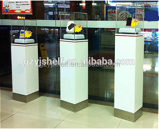 Distinctive custom vertical square mobile phone display cabinet/security decoration display stand for cell phone