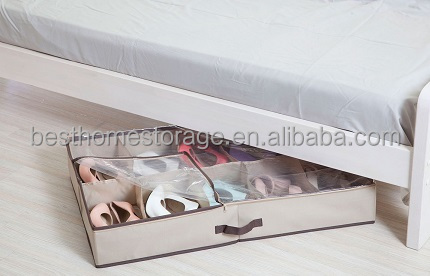 Durable Polyester Canvas 10-Pair Underbed Shoe Organiser with Clear Cover and Secure Zipper Closure,Beige Color