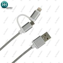 2 in 1 Micro USB Cable Braided for Mobile Phone