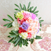 Beautiful design artificial silk bouquet flower for wedding decoration