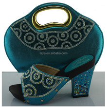 Women promotional New Design Blue Color African Women Shoes and Bags Set Size