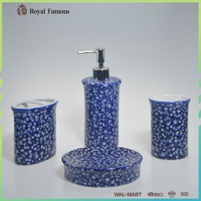 New product navy reactive glaze ceramic bathroom accessories set with lotion dispenser soap dish tumbler toothbrush holder