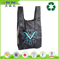 Wholesale sport foldable polyester tote bag with snap closure