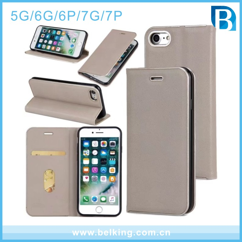 Strong magnetic force metal frame filp leather wallet cell phone case for iphone 5 6 6plus 7 7plus 4.7inch 5.5inch