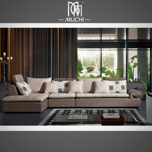 New Model Soft Luxury Light Brown Fabric Material Sofa Home Furniture Living Room