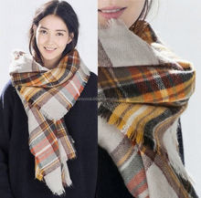 Plaid infinity scarf hot selling Tartan plaid acrylic knitted infinity scarf delivery within 3 working days