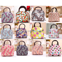 Wholesale 12 designs fancy flowers printing best cute lunch bag for office