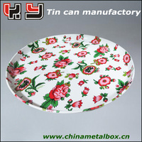 Beautiful flower round tin tray for various size and style