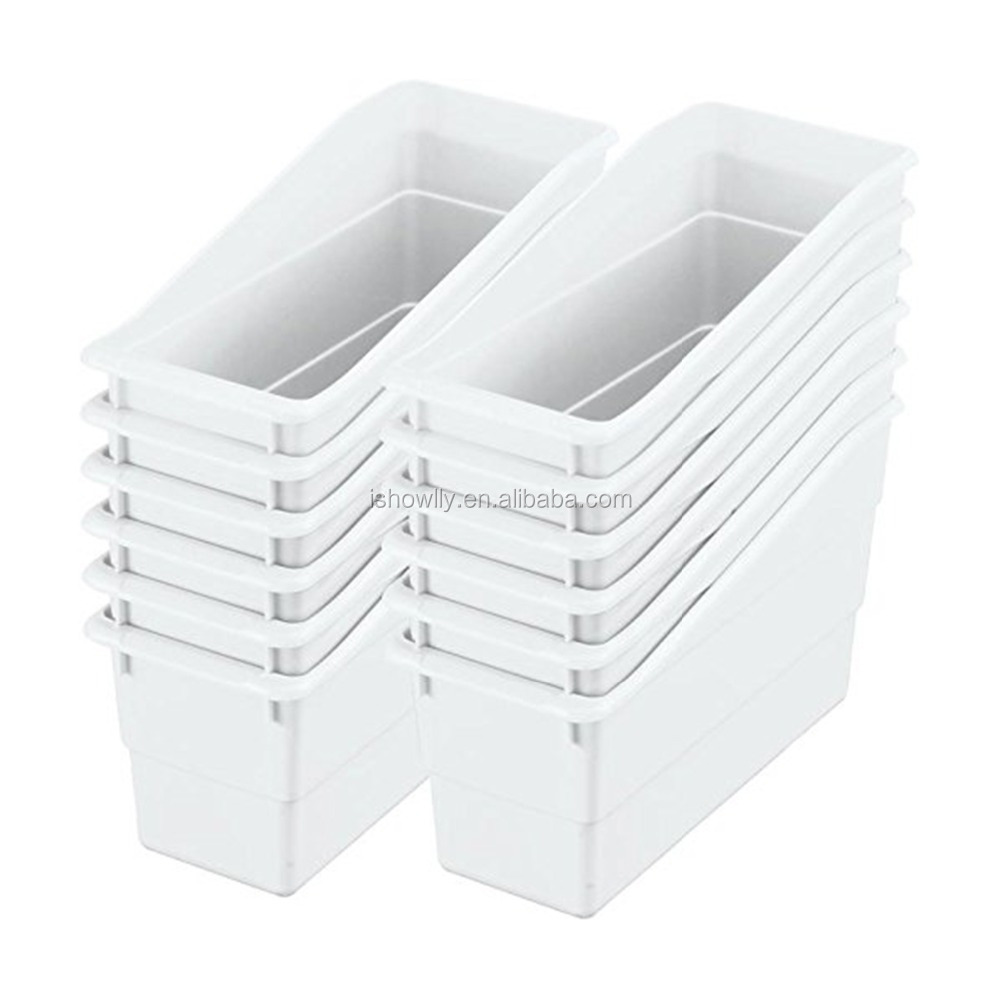 Hot Sale White Durable Book And Binder Holders Plastic Classroom Book Anizers Office Folder Magazine Storage