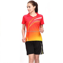 Dry fit and top quality jersey design badminton for couples, fashion custom badminton jersey