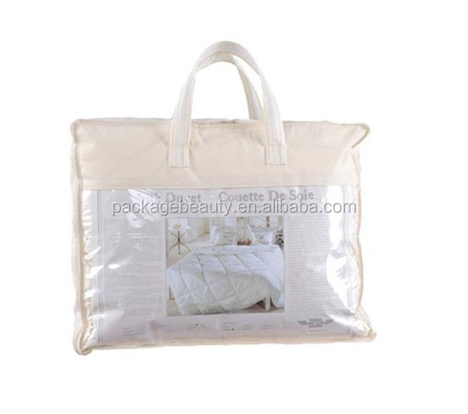 Cheap custom printed clear plastic pvc zipper bedding quilt packaging bag