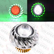 Factory directly U13 cyclone shape motorcycle headlight with 6 color angel ring red blue devil eye driving lamp