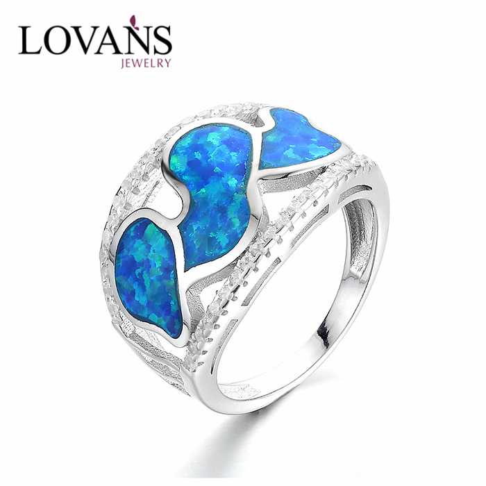 Unisex Gift Ideas Costume Jewellery AAA Quality Blue Opal Ring