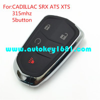 MS car smart card 5 button remote key 315mhz fot cadillac SRX ATS XTS with emergency key blade