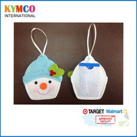 Funny Snowman Head Felt Christmas Tree Ornament Name Card holders with Ribbon Hanging