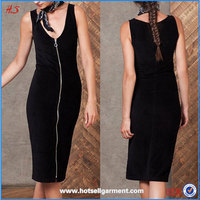 New Arrival Hot Sale Sex Girls Photos Open Sleeveless Bodycon Midi Dress with Zip For Women