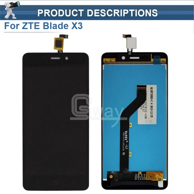 1pcs Black LCD+TP For ZTE Blade X3 D2 LCD Display with Touch Screen Digitizer Smartphone Replacement + Tools