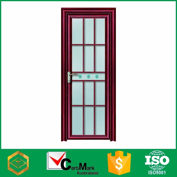 Wholesale wood grain grill glass door with flower design