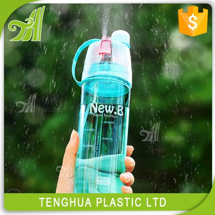 Promotion Recycled Plastic Spray Drinking Water Bottle With Straw