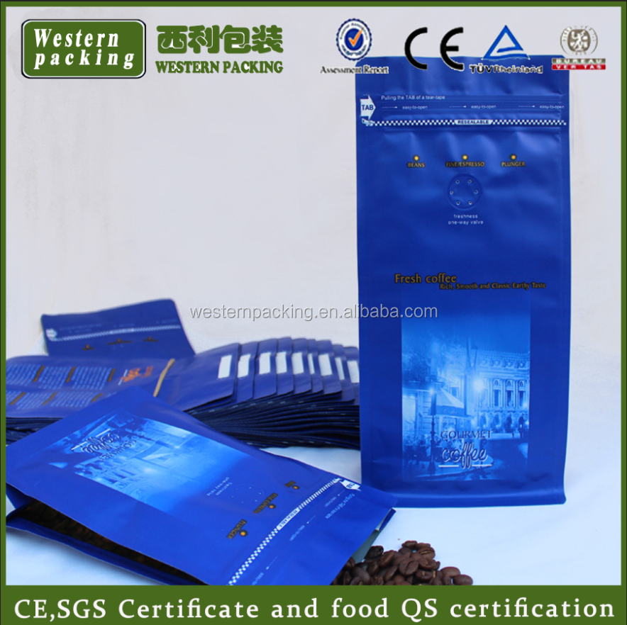 foil coffee bags with valve, flat bottom standing coffee bean bags with valve