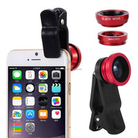 New Products 2016 3 in 1 Camera Set Fish Eye Wide Angle Macro Lens for iPhone 7 7S Phone Accessory