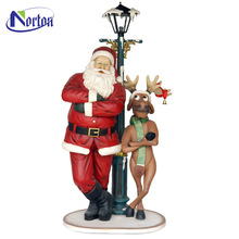 Street decoration lights cartoon Santa Claus and deer resin sculpture NTFC-109Y