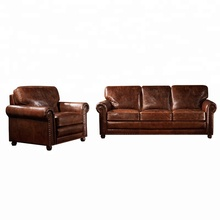 European style living room sofa set top grain tan leather sectional luxury home <strong>furniture</strong>