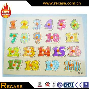 New Funny Baby Toy Wholesale Wooden Assemble Jigsaw Puzzle Board Game High Quality Montessori Wooden Toys Cartoon Numbers