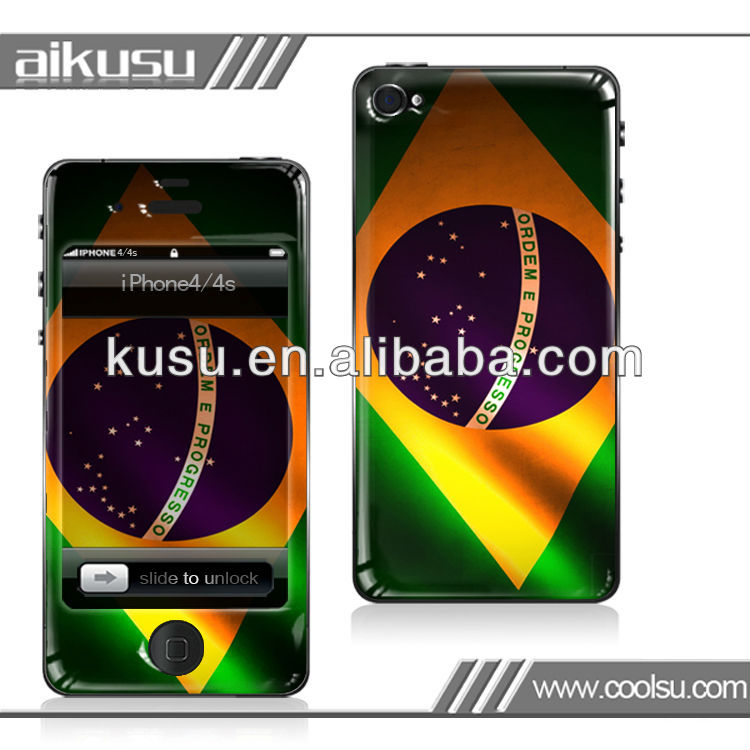 Brazil Flag design~for iphone removable skin(s) with dome pu glue