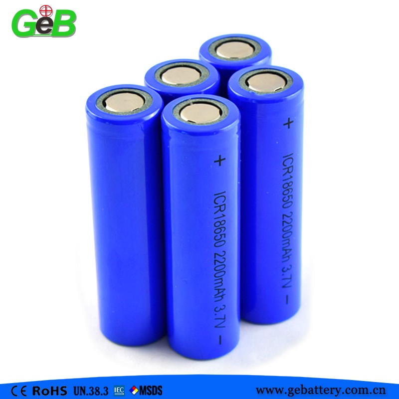 cylindrical lithium battery pack ICR18650 3.7V 2200mAh rechargeable li-ion battery