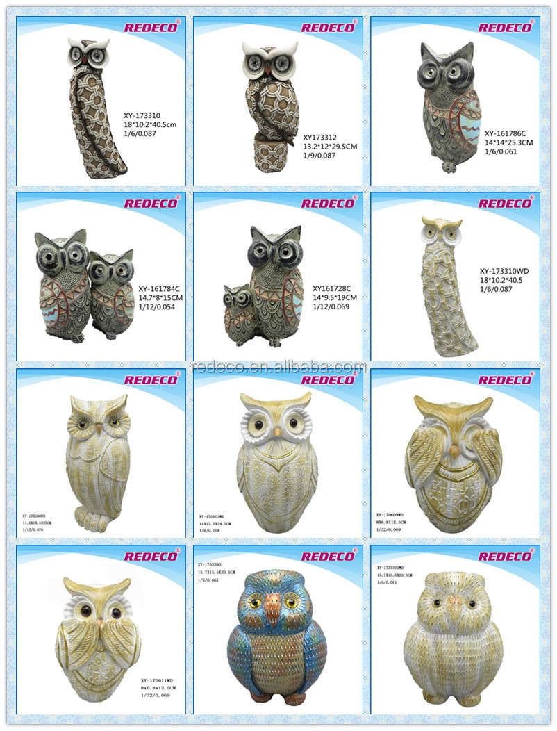 2017 fasion style resin owl ornaments for home decor