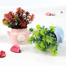 2017 new design artificial plant plastic China mini potted plant with ceramic for indoor decoration home decor
