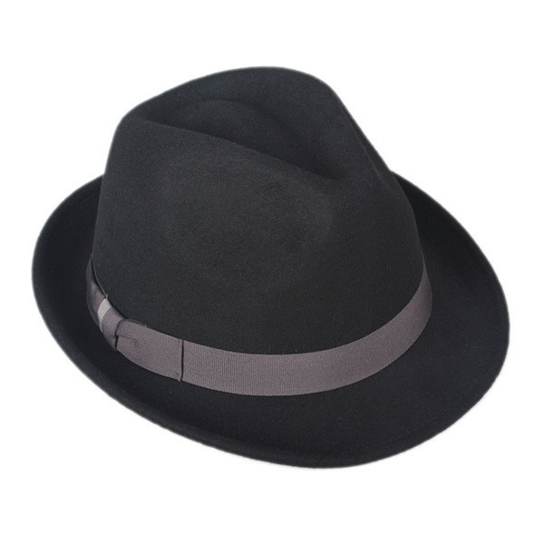 Hot Selling Classical Men Black Vintage Fedora Hat