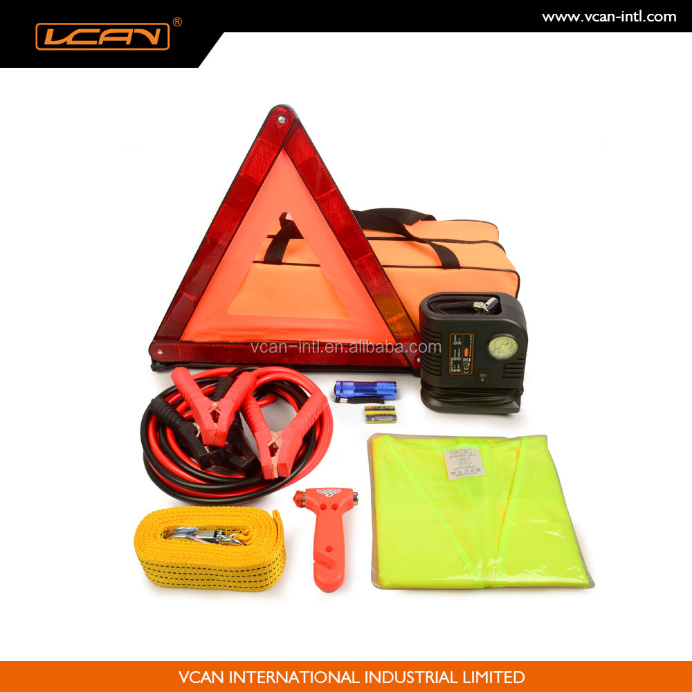 Roadside Emergency Tool Kit with An Inflator