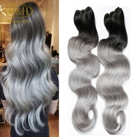Grade 7a raw unprocessed 100% remy body wave gray hair weave silver brazilian human hair extensions