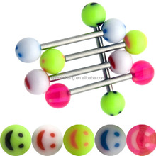 Tongue Piercing Barbell with Acrylic Smiling Face Balls