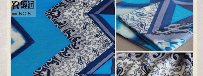 C11010YThe scarf factory Wool Suppliers Chinoiserie Printing of pure cashmere scarf Wholesale