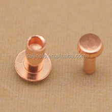 Brass and copper flat head semi tubular rivets