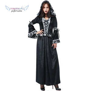 Halloween new lace wizard costume Ghost festival party COS witch long skirt clothes