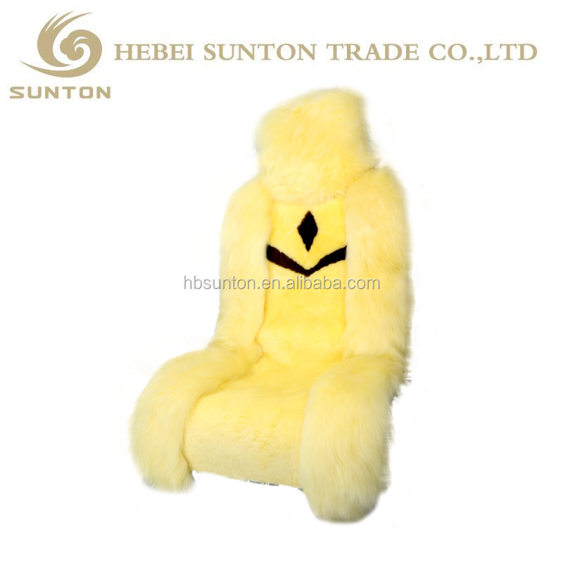 China factory wholesale safety baby high-low wool sheepskin car seat covers