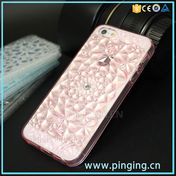 New Mobile Phone Shell Crystal Clear TPU Sunflower Diamond Case For iPhone 5 Se 5S Covers