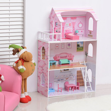 pink color wood material kids diy doll house toy
