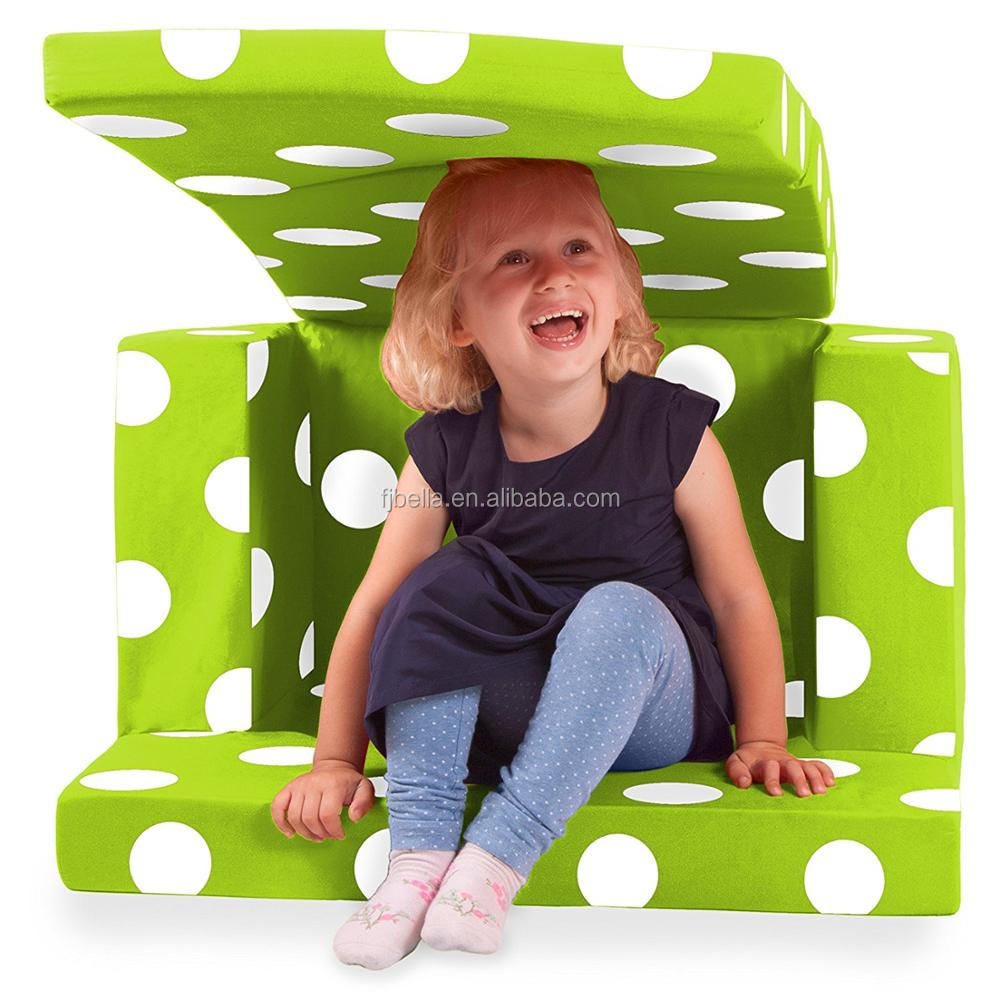 2 in 1 Folding Kid Sofa Bed Foam Single Sofa Chair With White Polka Dots
