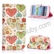 Cross Pattern Wallet Style Magnetic Flip Stand TPU+PU Leather Case for Samsung Galaxy S3 Heart Cover i9300