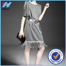 Yihao New Fashion women short Sleeve tassel solid gray strapless party dress 2015