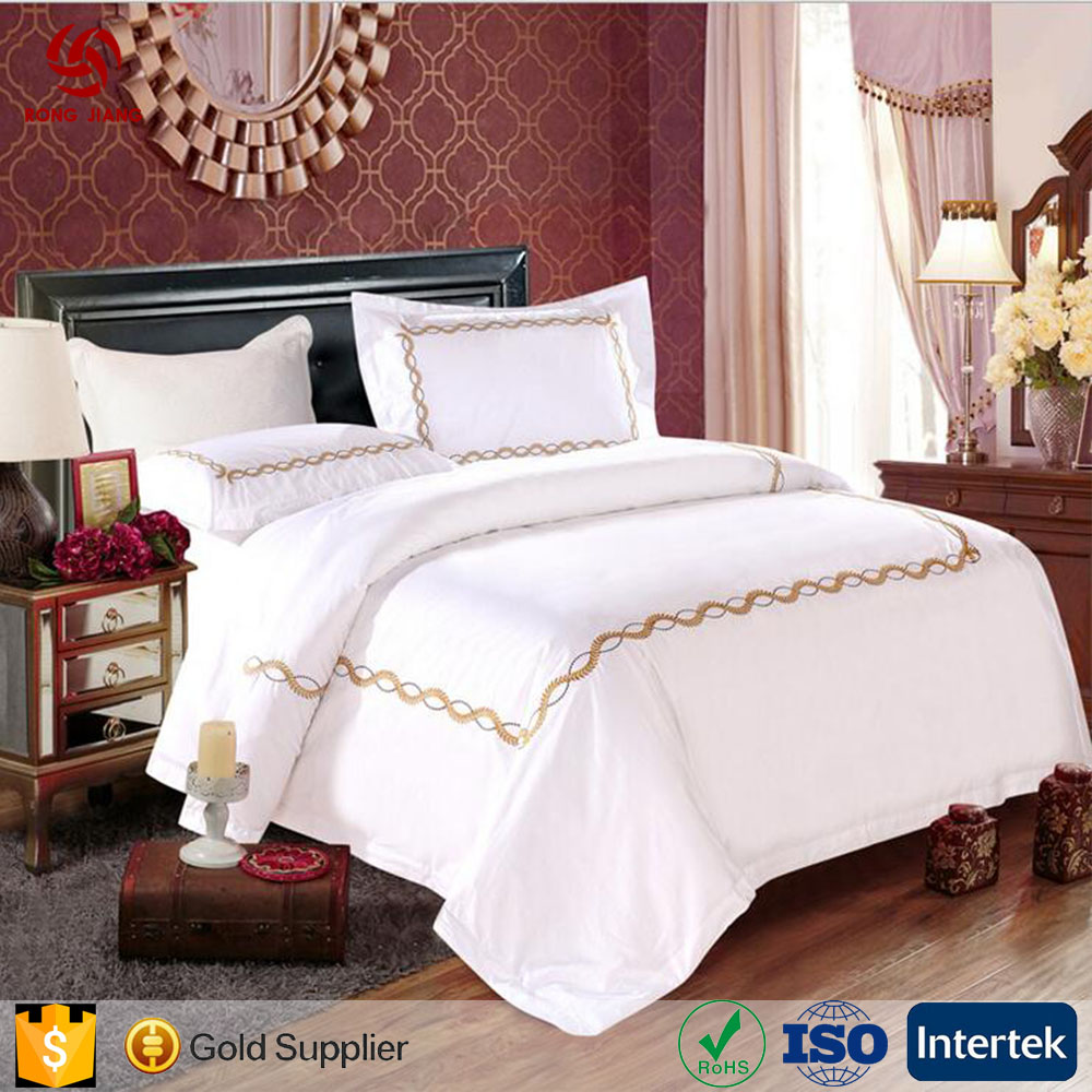 Wholesale Five-star hotel satin embroidery cotton four-piece set of 60 white cotton bed quilt pillowcase