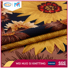 Customized Custom Multi color sunflower pattern knitted wool rib fabric for sweater designs