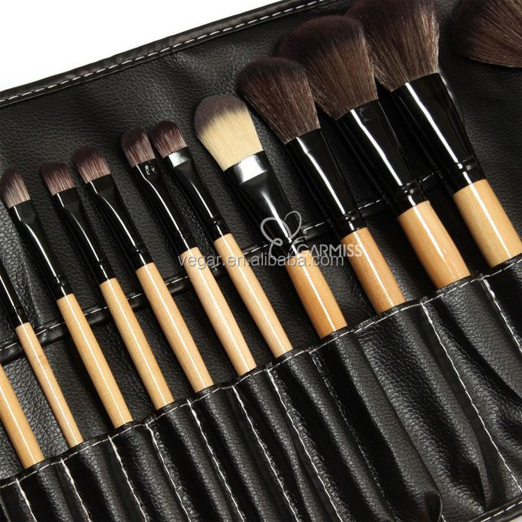 beauty makeup brush with pu cover wooden makeup brush 24pcs/set wooden 24 make up brush set