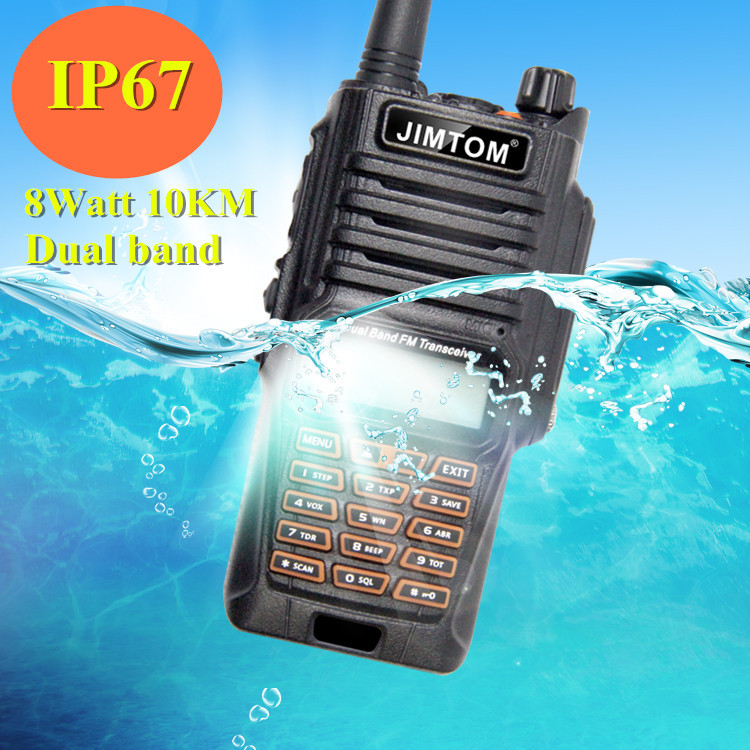 Best Waterproof Walkie Talkie KT-T56 Jimtom 8W Dual Band Vhf Uhf IP67 Water-resistant Handheld Two-way Radios