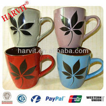 Wholesale Stoneware Decorate Tea Mug set , Reactive Glazing Stoneware Mug, Novelty Mug